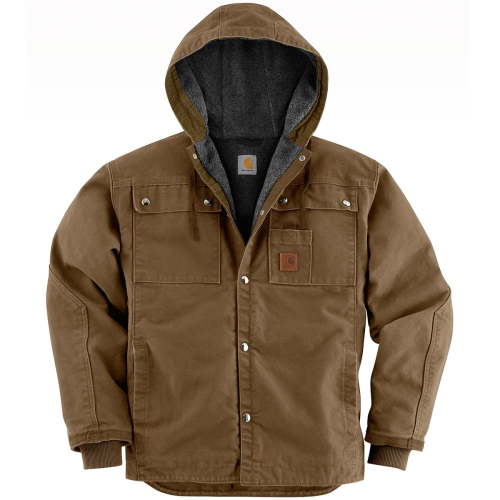 CARHARTT Men's Sandstone Hooded Jacket - FRB FRONTIER BROWN