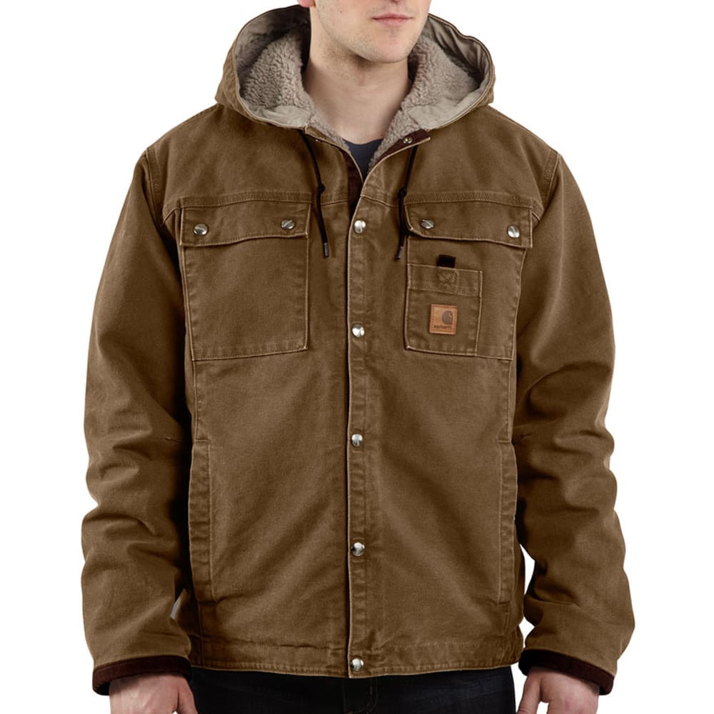CARHARTT Men's Sandstone Hooded Jacket - FRB FRONTIER BROWN