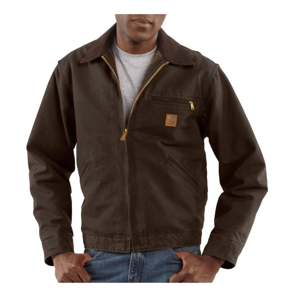 CARHARTT Men's Sandstone Duck Detroit Blanket Lined Jacket - DARK BROWN