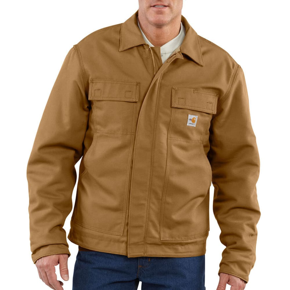 CARHARTT Men's Flame-Resistant Lanyard Access Quilt-Lined Jacket - CARHARTT BROWN