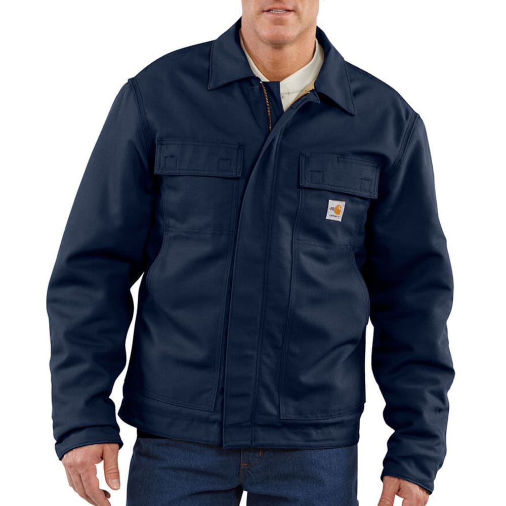 CARHARTT Men's Flame-Resistant Lanyard Access Quilt-Lined Jacket, Extended Sizes - DARK NAVY