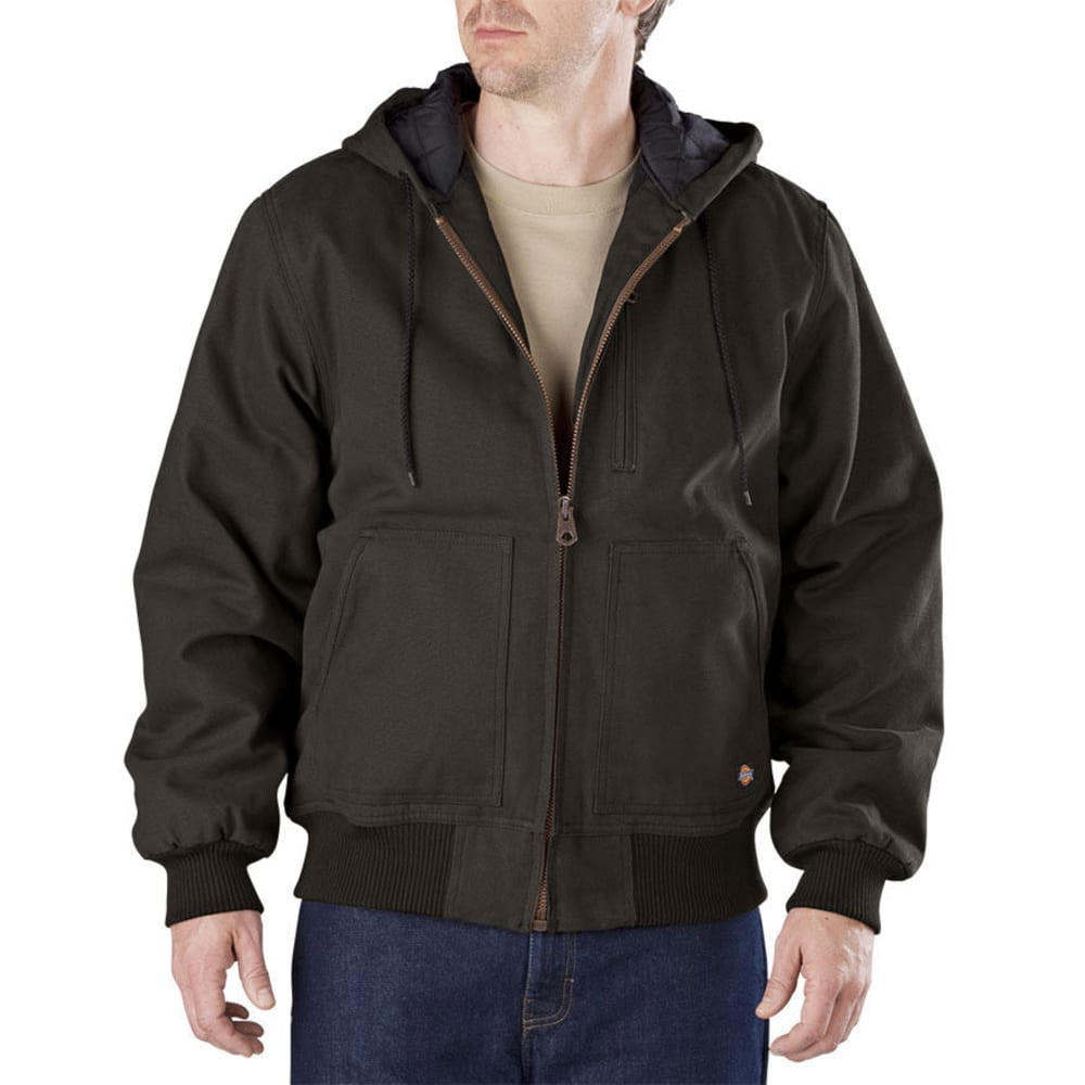 DICKIES Men's Sanded Duck Hooded Jacket - BLACK/OLIVE