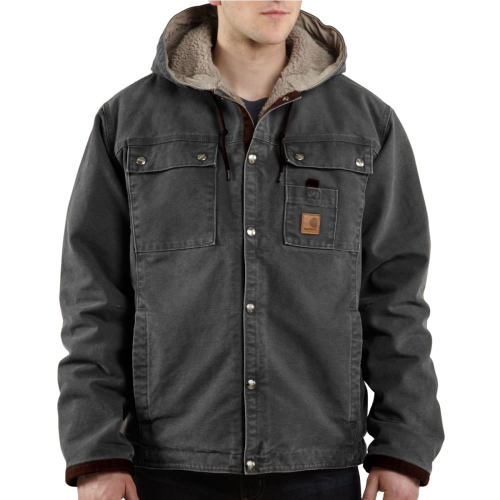 CARHARTT Men's Sandstone Hooded Multi-Pocket Jacket - GRAVEL