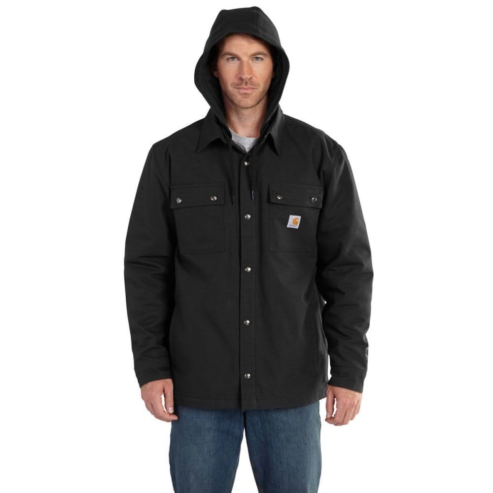 CARHARTT Men's Quick Duck Roane Hooded Shirt Jac - BLACK