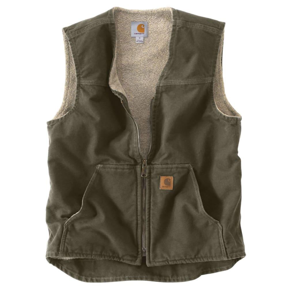 CARHARTT Men's Sandstone Sherpa Lined Vest - MOSS