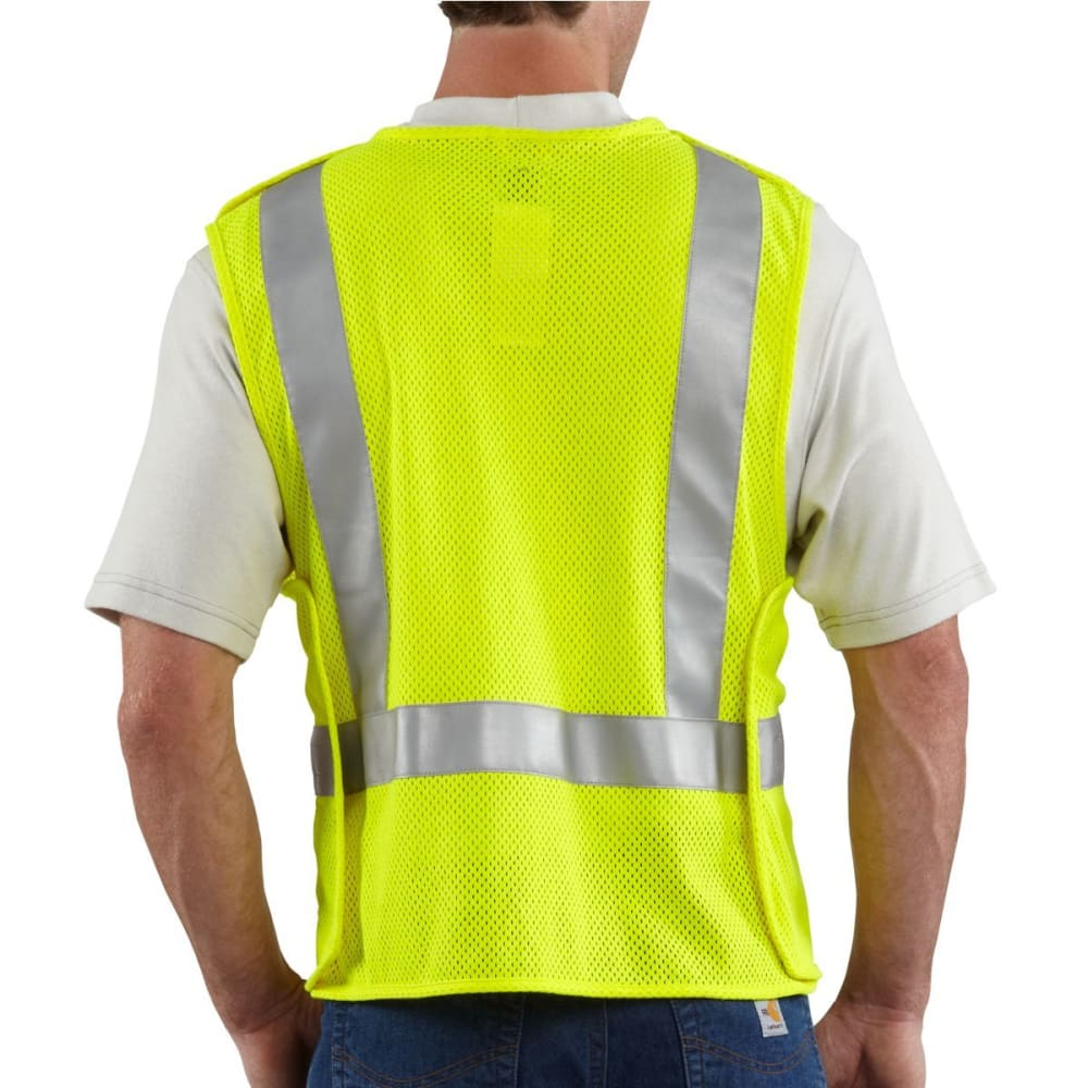 CARHARTT Men's Flame-Resistant High-Visibility 5-Point Breakaway Vest - ALGAE