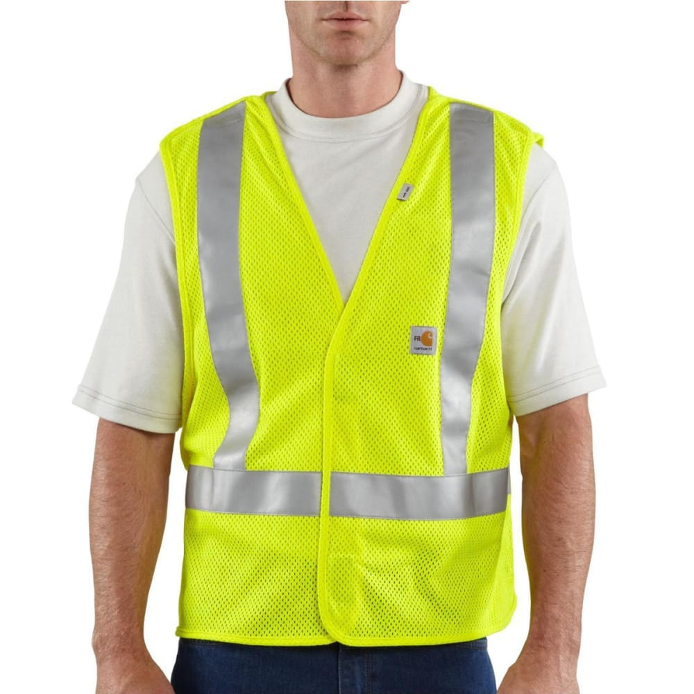 CARHARTT Men's Flame-Resistant High-Visibility 5-Point Breakaway Vest - ALGAE