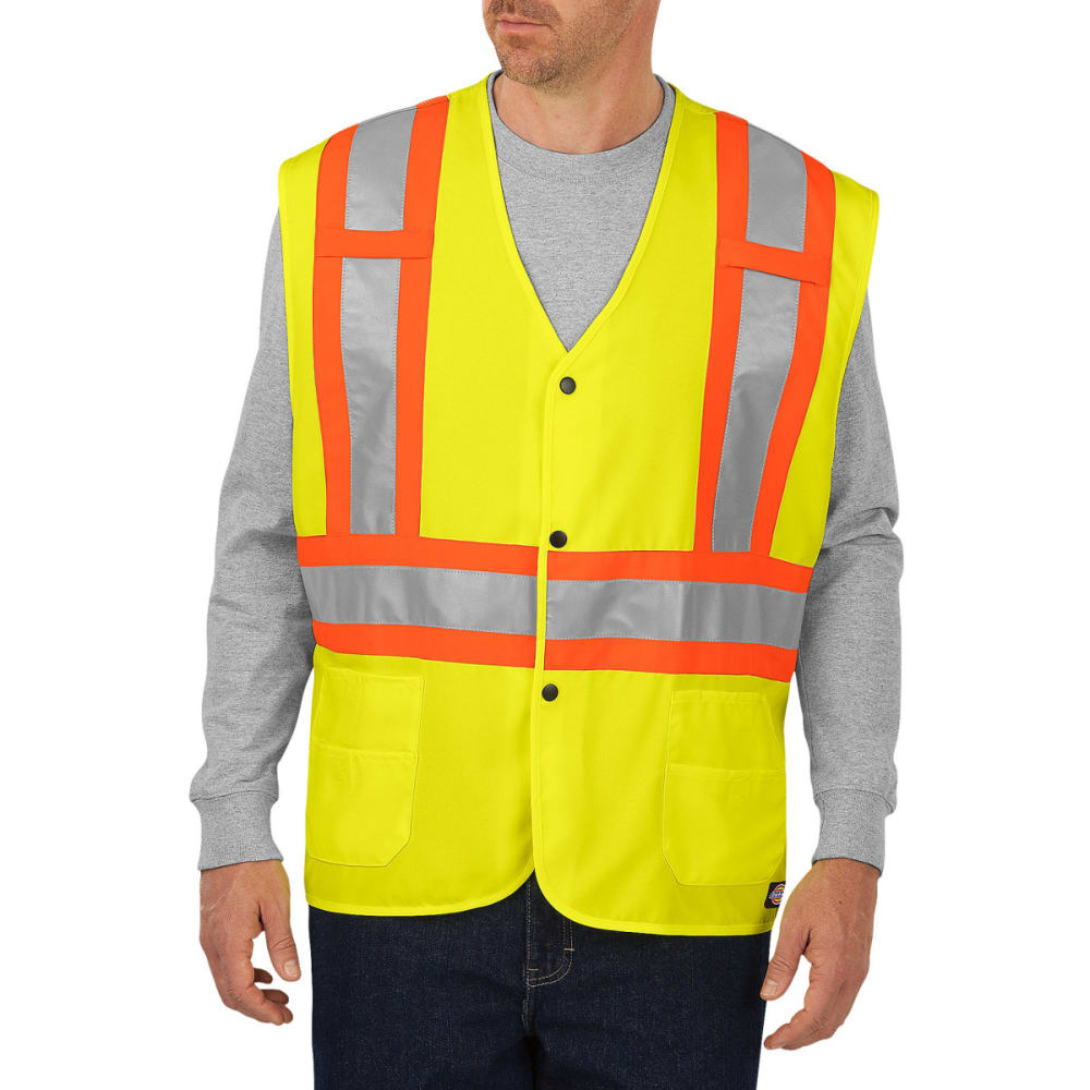 DICKIES Men's VE200 High Visibility ANSI Class 1 Safety Vest - ANSI YELLOW