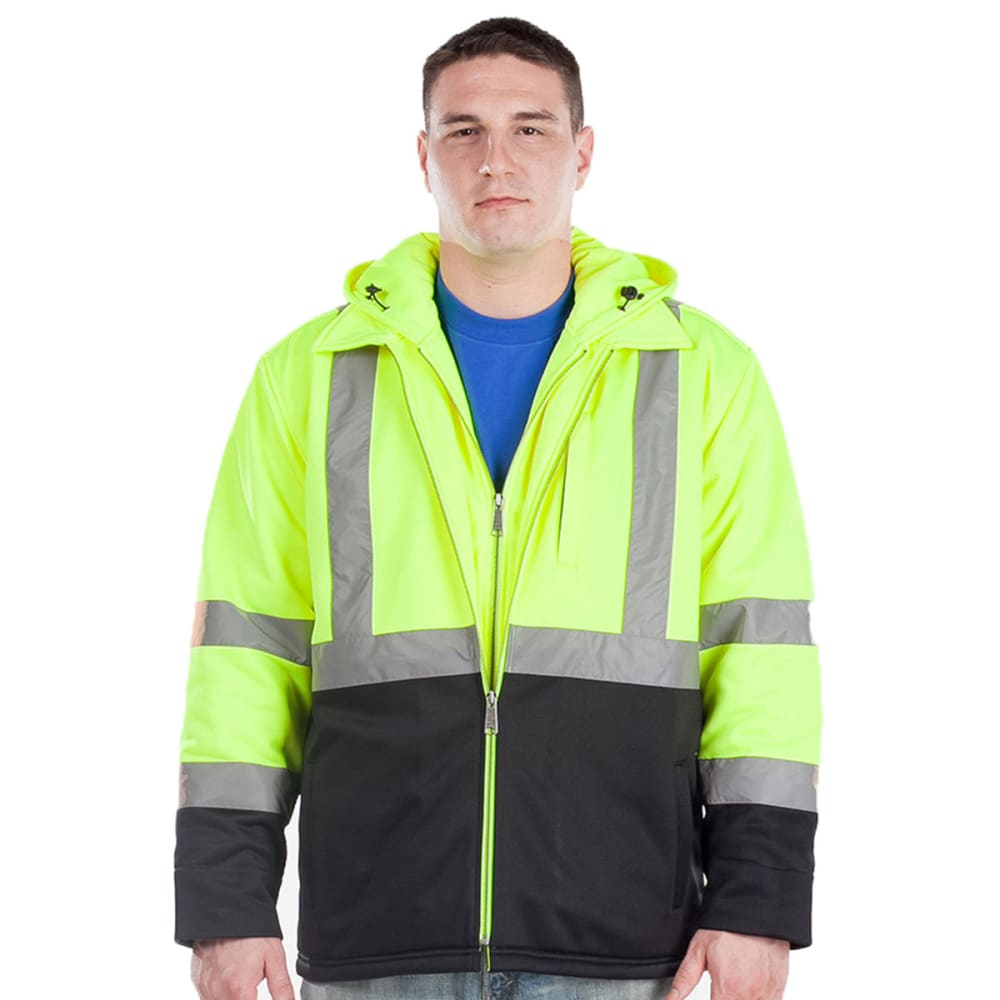 UTILITY PRO WEAR Men's Industry Hooded Soft Shell Jacket - LIME