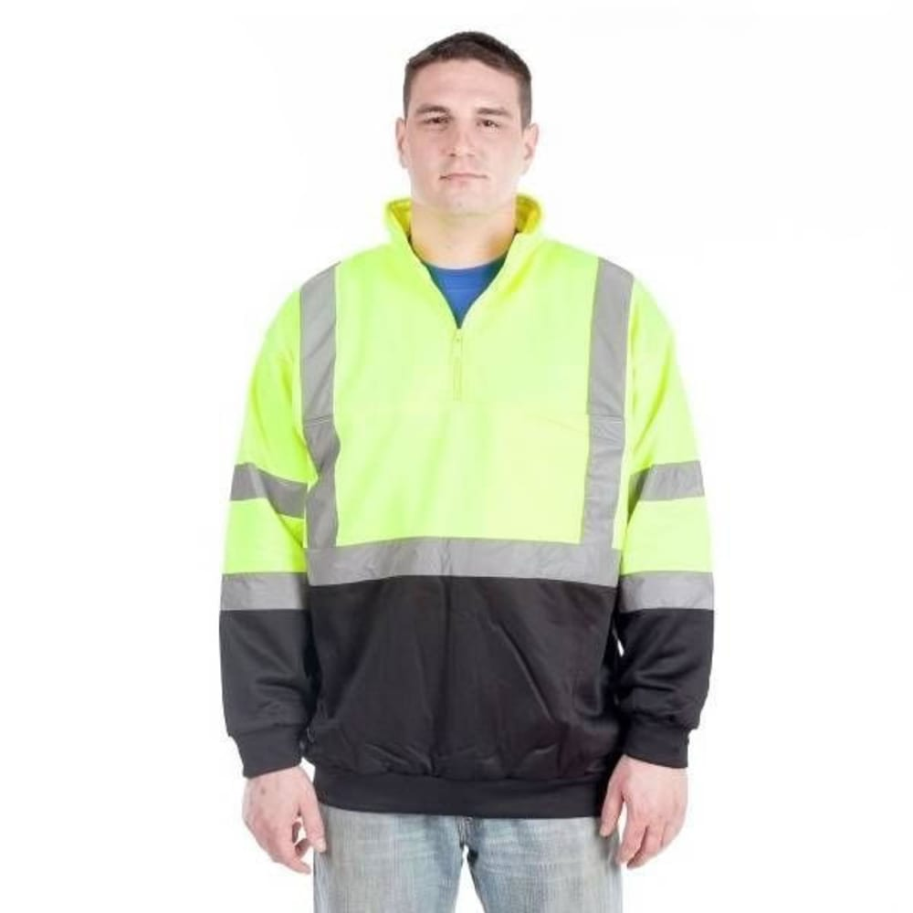 UTILITY PRO WEAR Men's High Visibility 1/4 Zip Sweatshirt - LIME