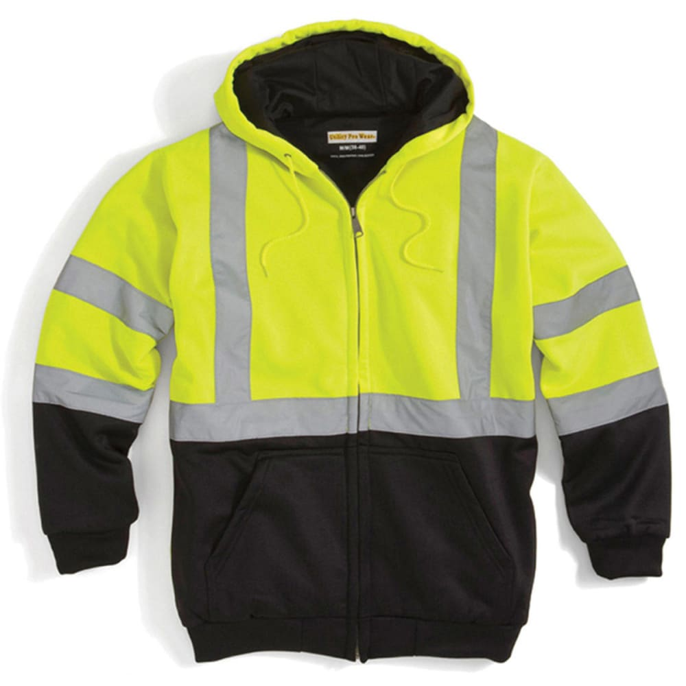 UTILITY PRO WEAR Men's UHV425 Stain-Resistant ANSI Class 3 Hi Vis Hooded Sweatshirt - LIME