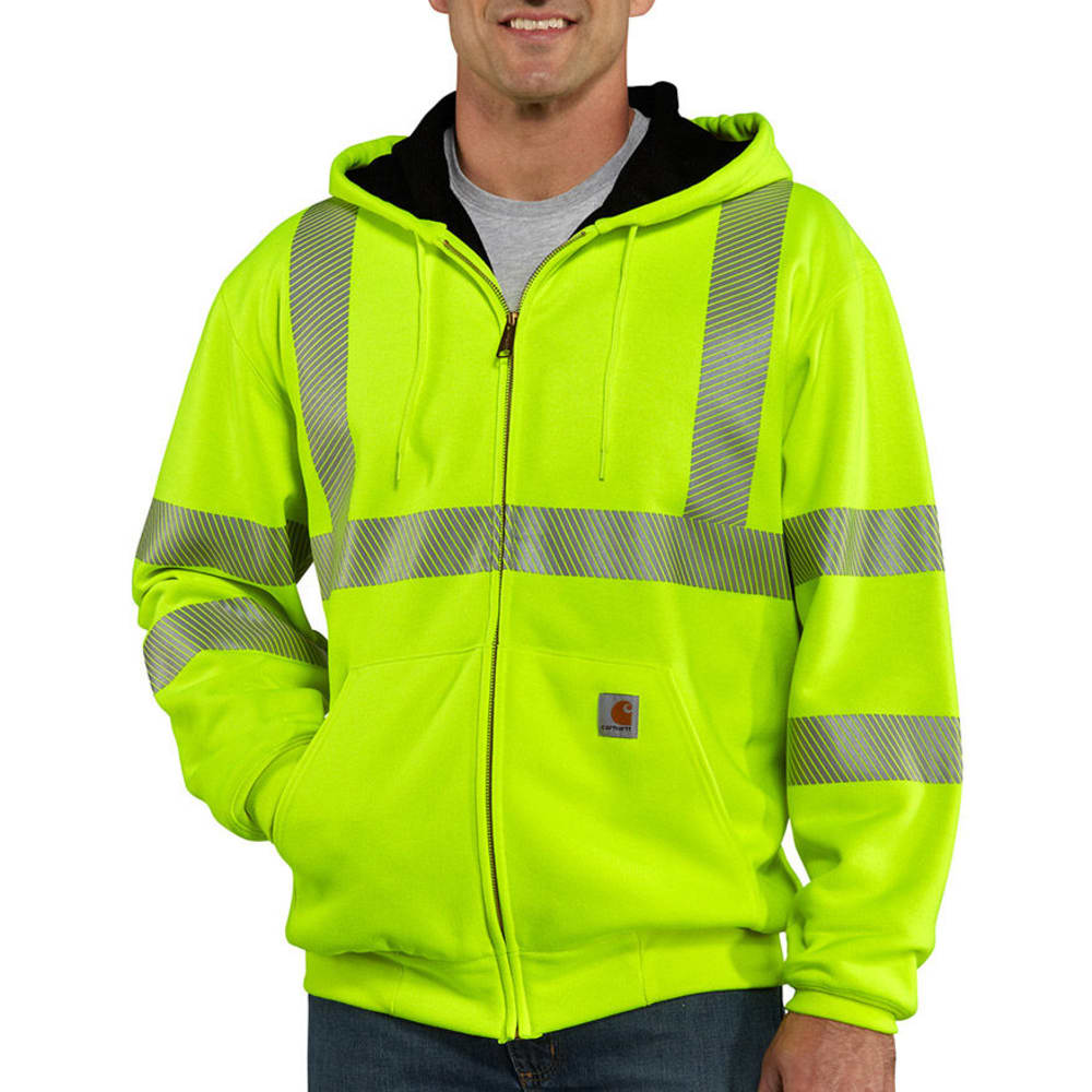 CARHARTT Men's High-Visibility Zip-Front Class 3 Thermal-Lined Sweatshirt - BRIGHT LIME