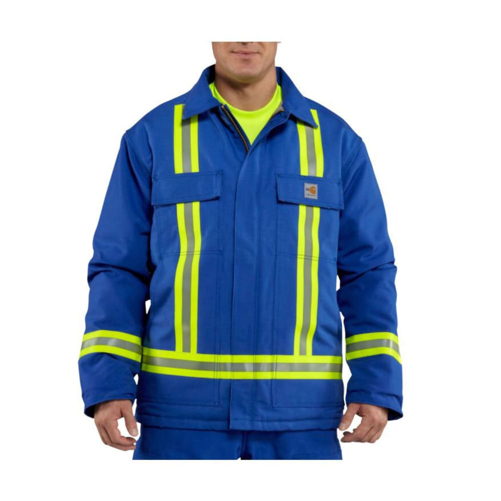 CARHARTT Men's Flame-Resistant Duck Traditional Coat with Reflective Striping, Extended sizes - ROYAL BLUE