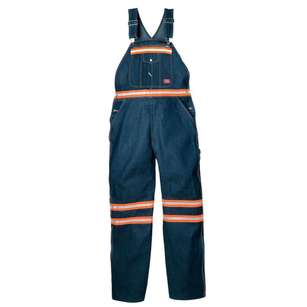 Dickies Men's Enhanced Visibility Denim Bib Overalls (Non Ansi) - Blue, 32/30