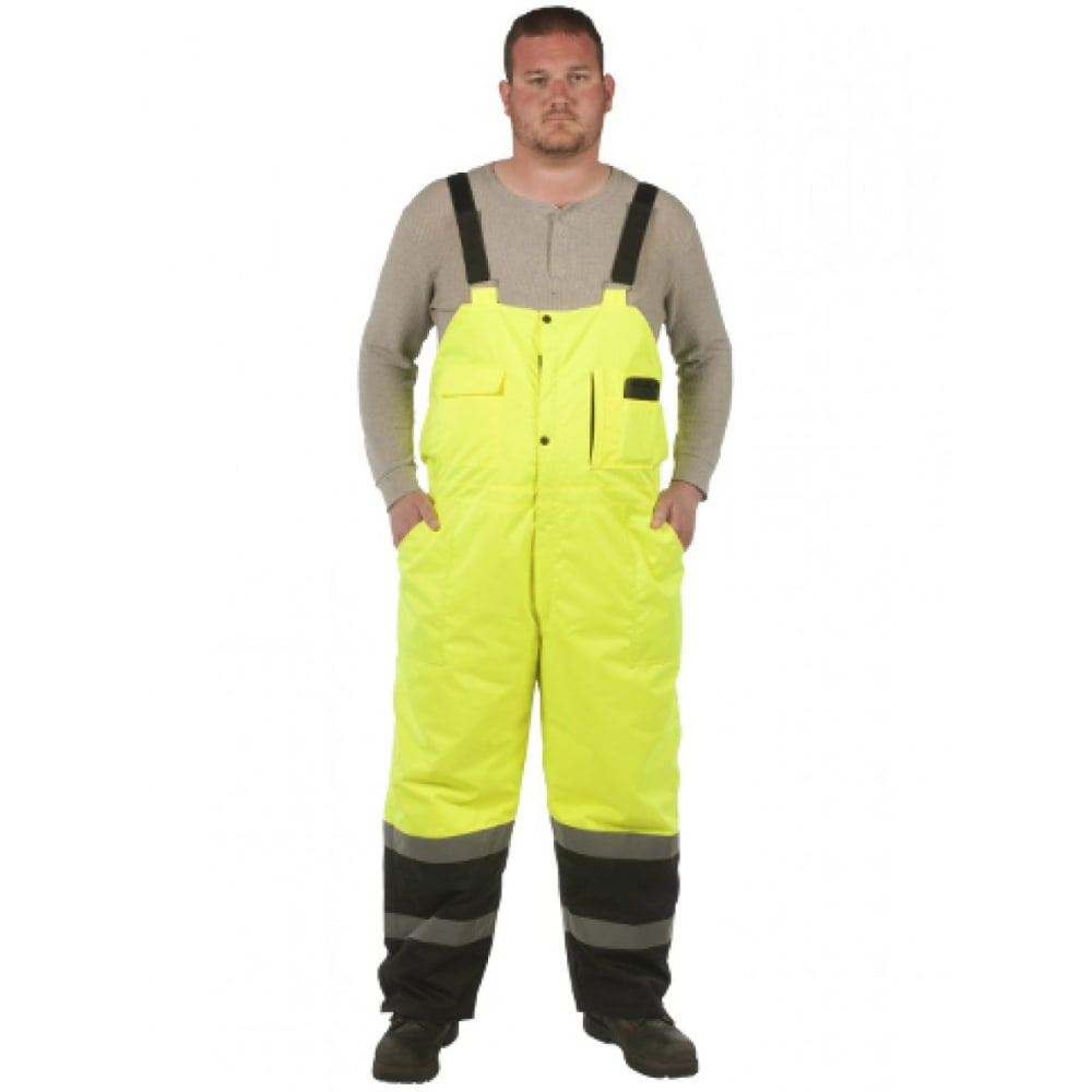 UTILITY PRO WEAR Men's High-Visibility Insulated Bib Overalls - LIME/BLACK
