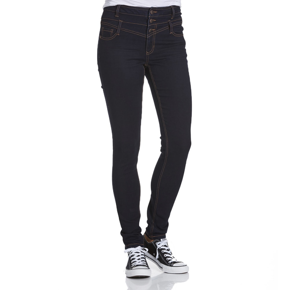BLUE SPICE Juniors' High Waist Skinny Jeans - DARK RINSE