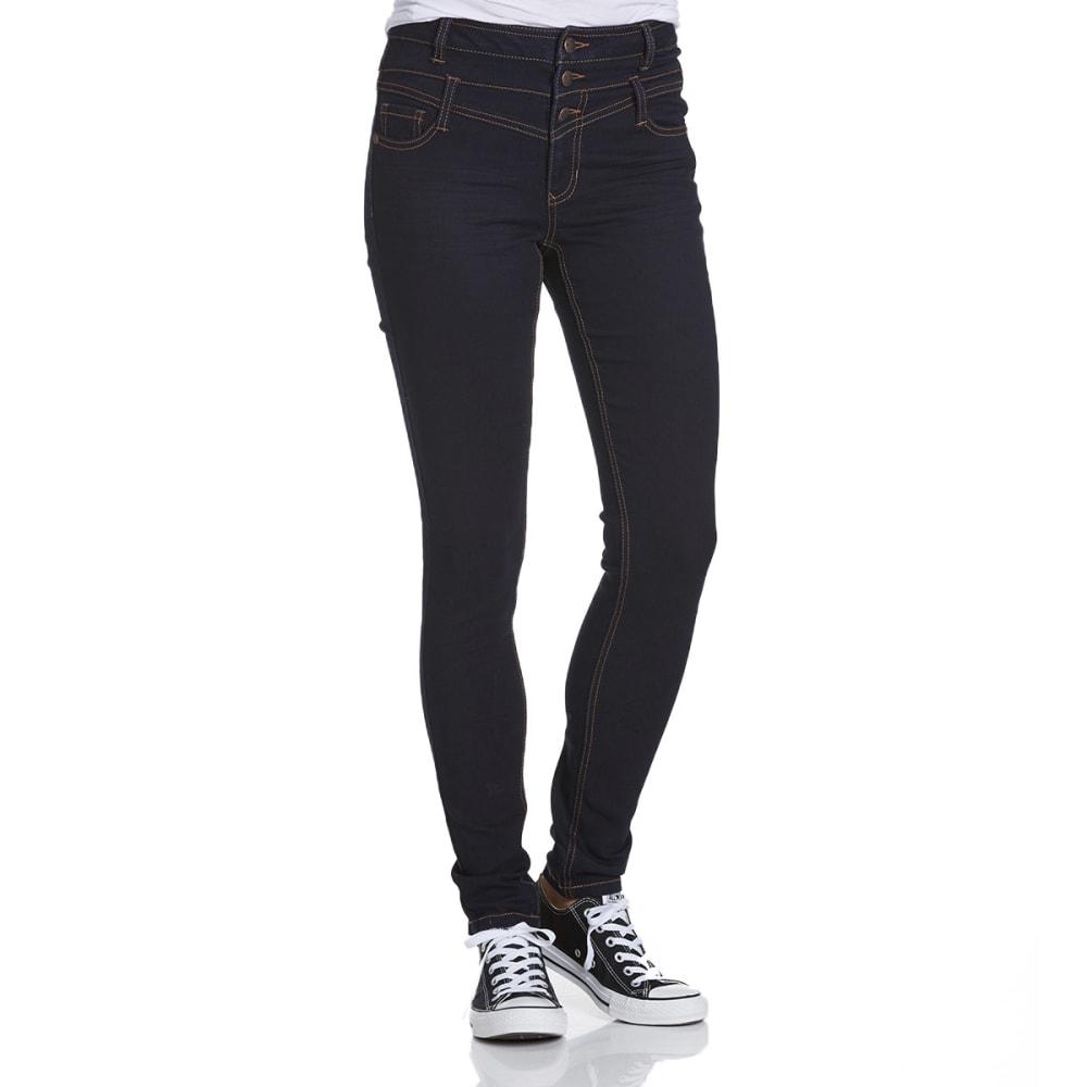 BLUE SPICE Juniors' High Waist Skinny Jeans - DARK RINSE