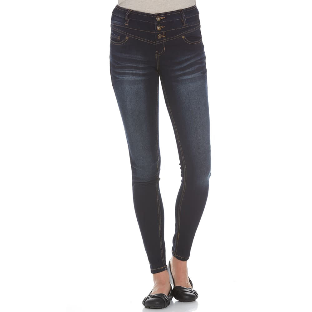 BLUE SPICE Juniors' High Waist Skinny Jeans - MEDIUM WASH