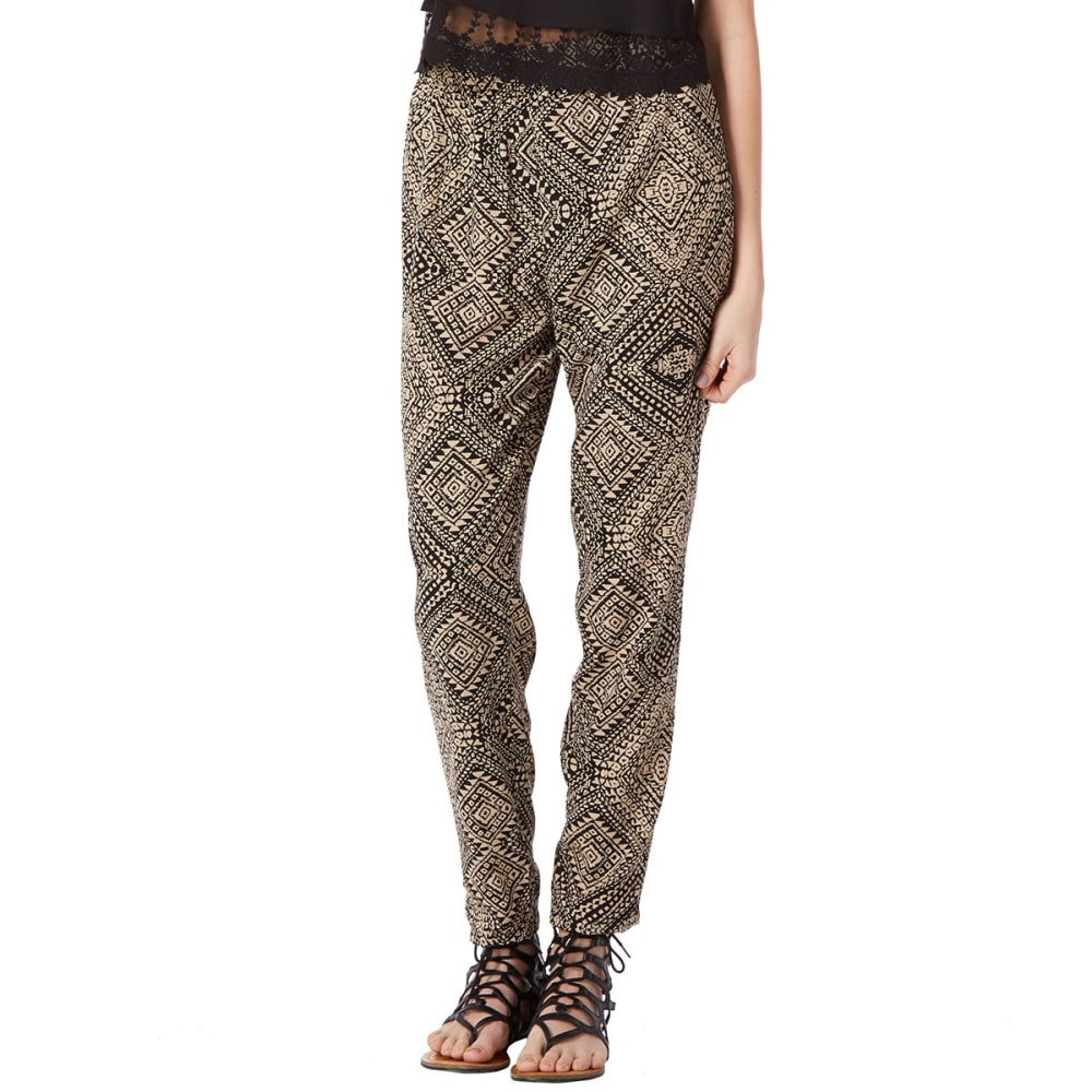 AMBIANCE Juniors' Diamond Harem Pants - TAUPE/BLACK