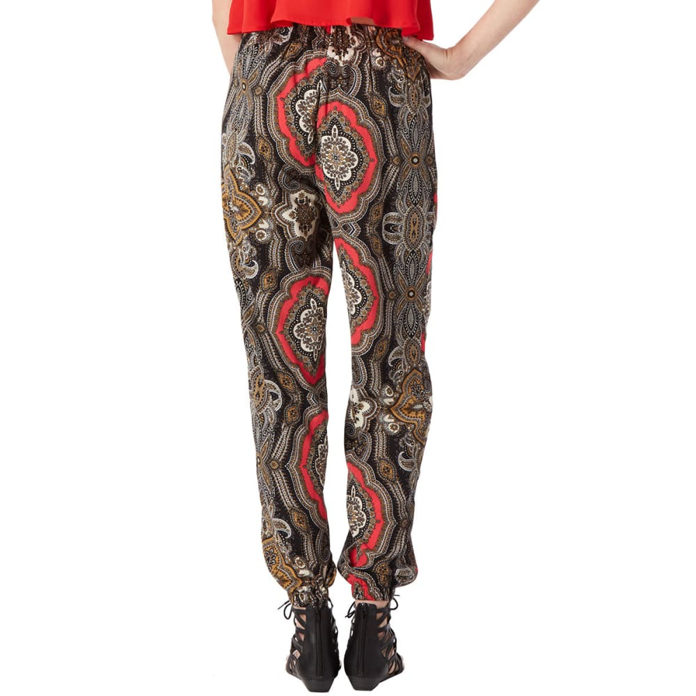 AMBIANCE Juniors' Medallion Harem Pants - BLACK/CORAL