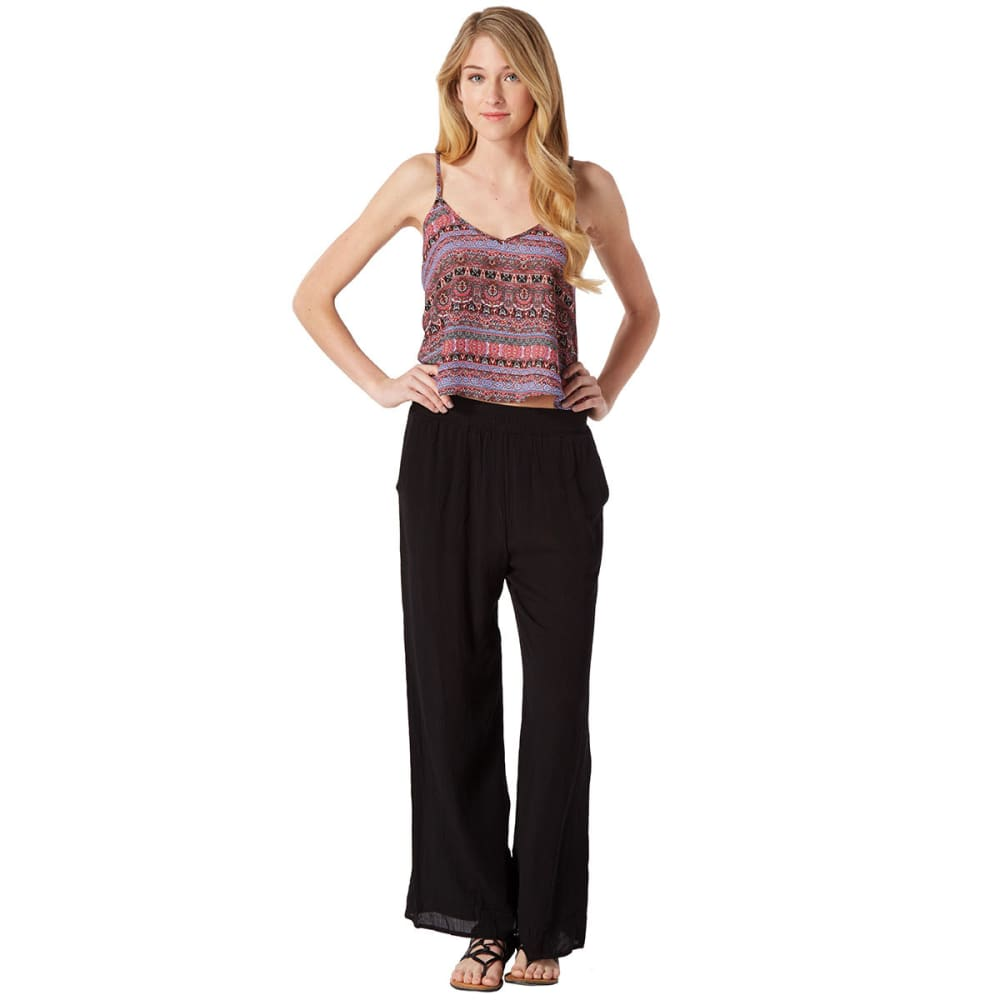 AMBIANCE Juniors' Crinkle Harem Pants - BLACK