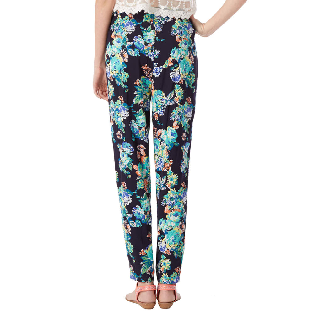 AMBIANCE Juniors' Floral Harem Pants - BLACK