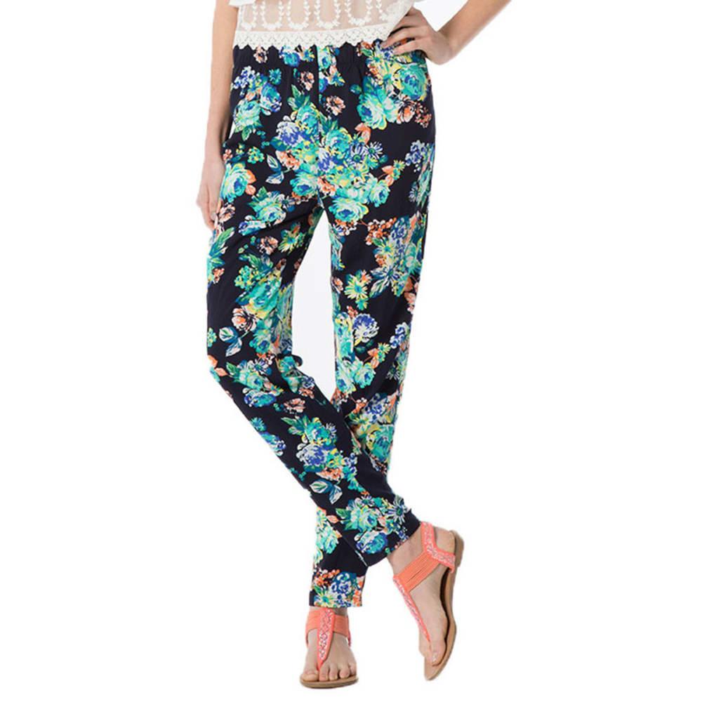 AMBIANCE Juniors' Floral Harem Pants - BLACK