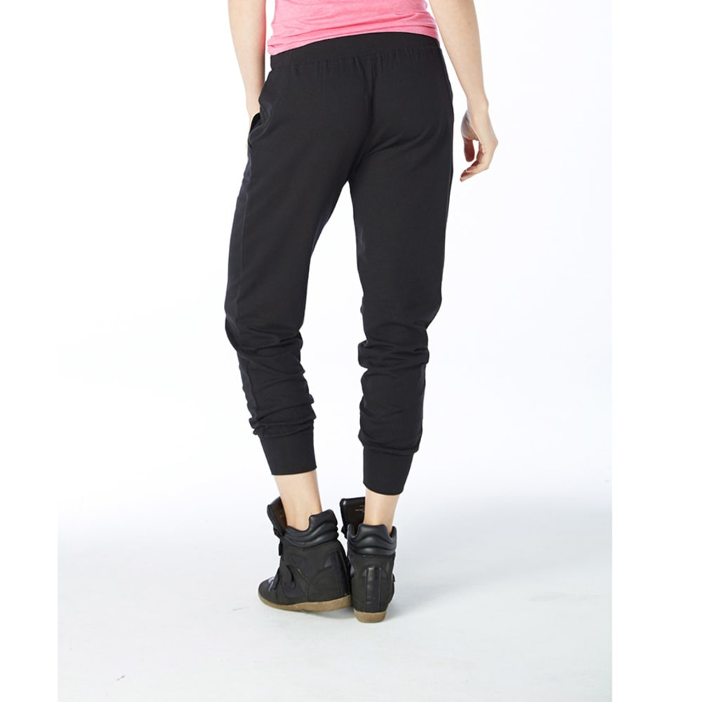 ELECTRIC PINK Juniors' Solid Jogger With Neon Pink Tie - BLACK