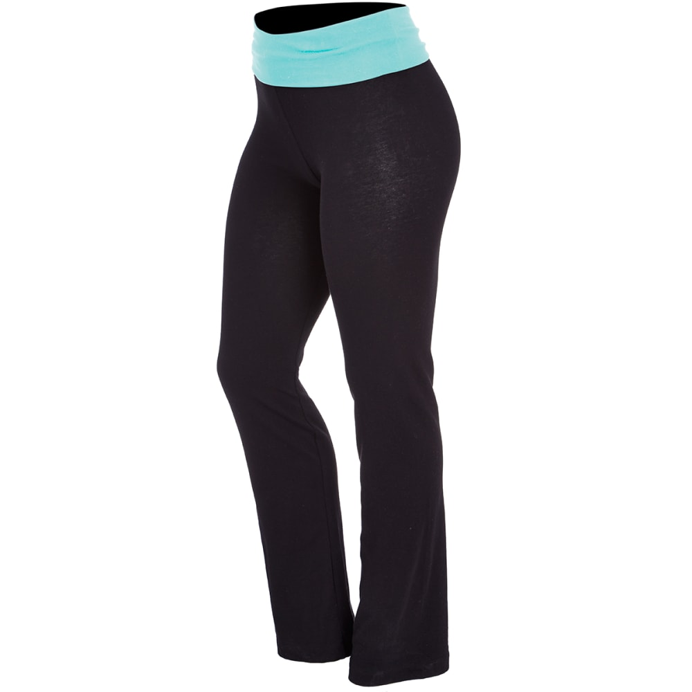 ZENANA Juniors' Yoga Pants - BLK/MINT