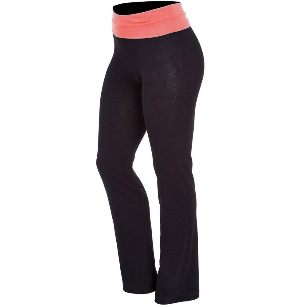 ZENANA Juniors' Yoga Pants - BLK/CORAL