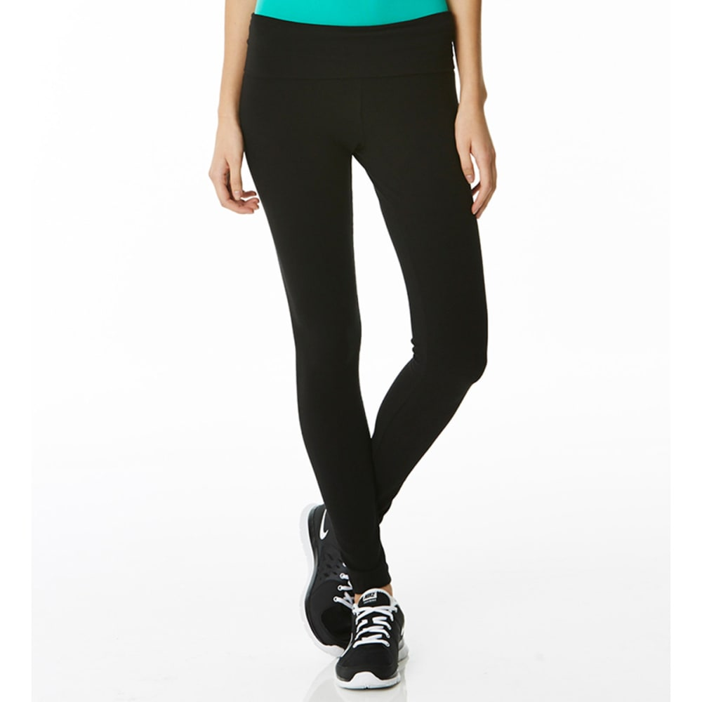 ZENANA Juniors' Skinny Yoga Pants - BLACK/VANILLA