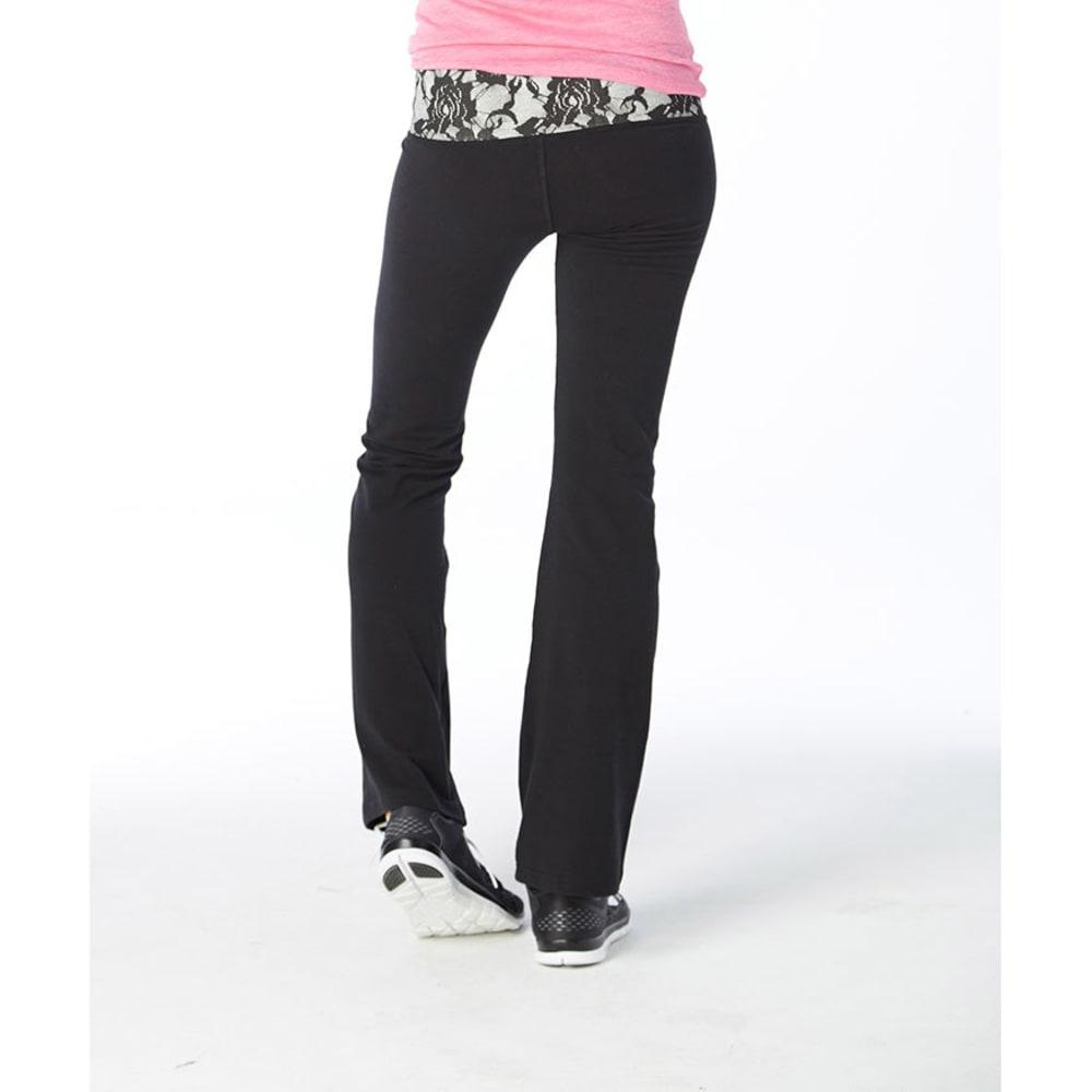 EYE CANDY Juniors' Reversible Yoga Pants - BLACK LACE