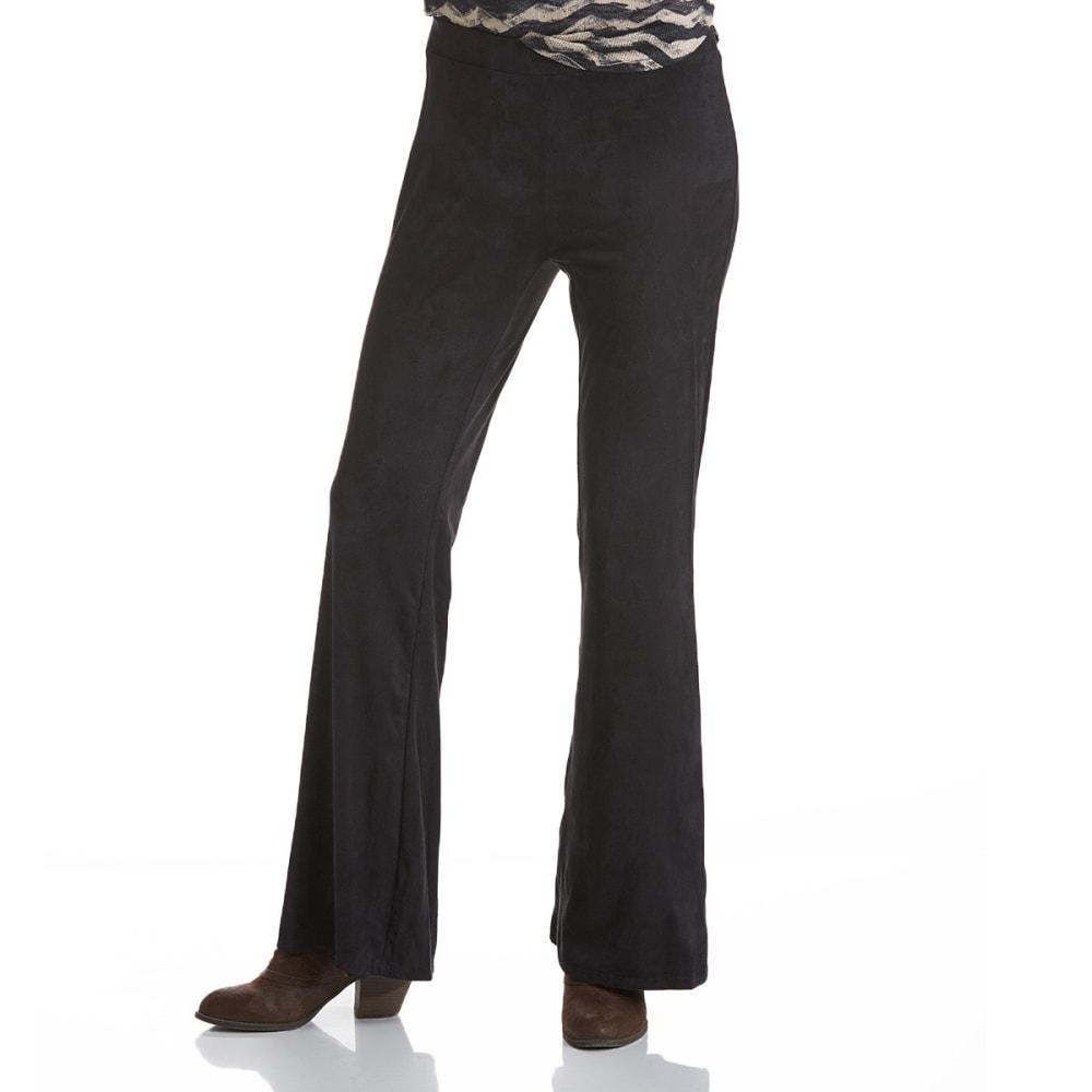 JOE BENBASSET Juniors' Fit and Flare Sueded Pants - BLACK