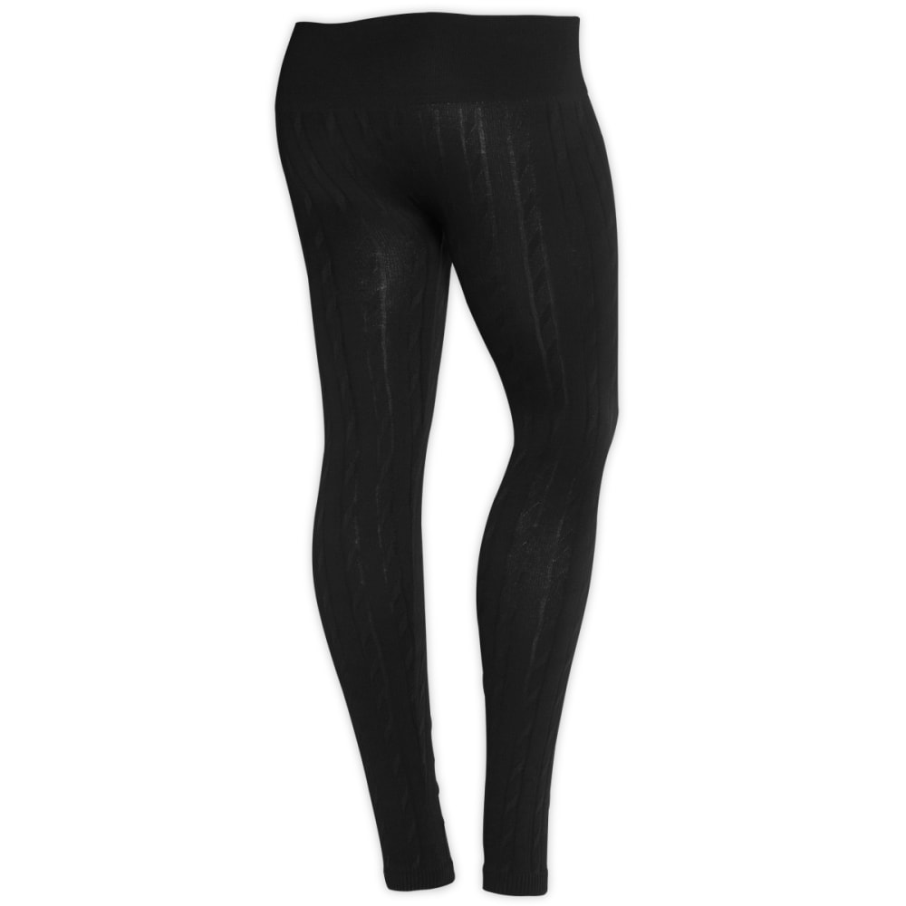 ONE STEP UP Juniors' Cable Stitched Leggings - BLACK