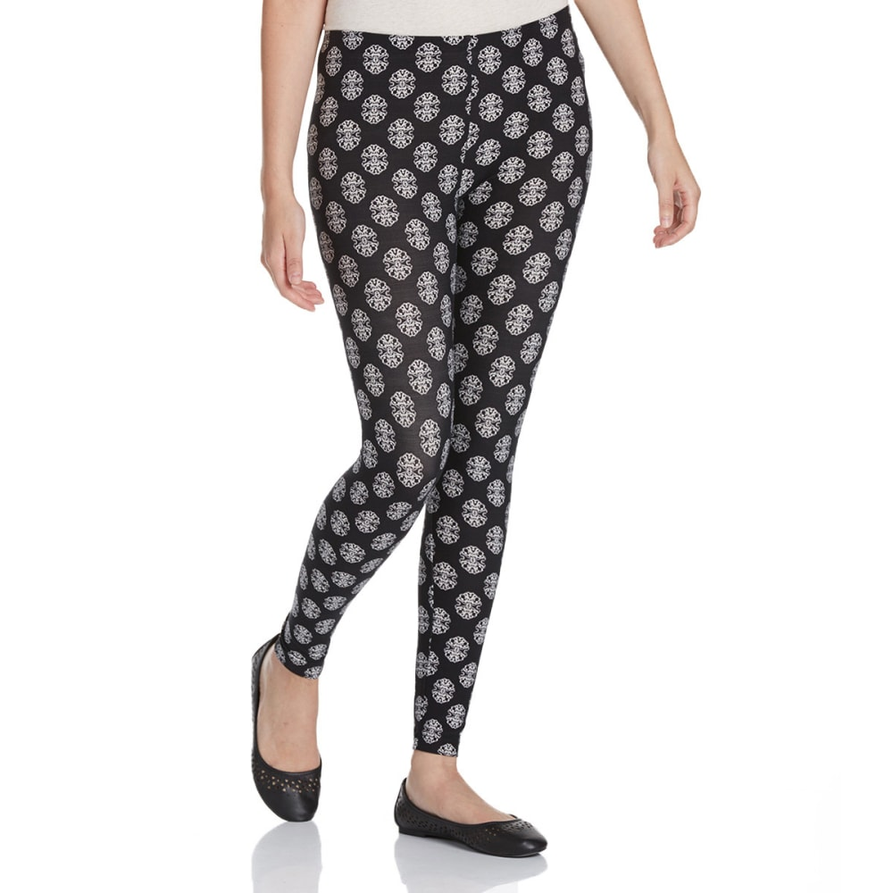 PINK ROSE Juniors' Printed Leggings - BLACK/WHITE