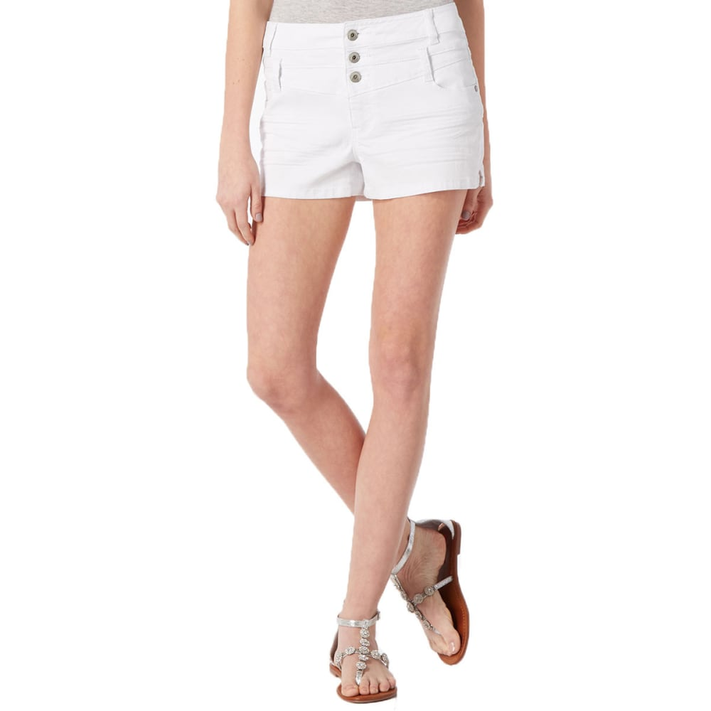 SQUEEZE Juniors' 3 Button High-Waisted Shorts - WHITE