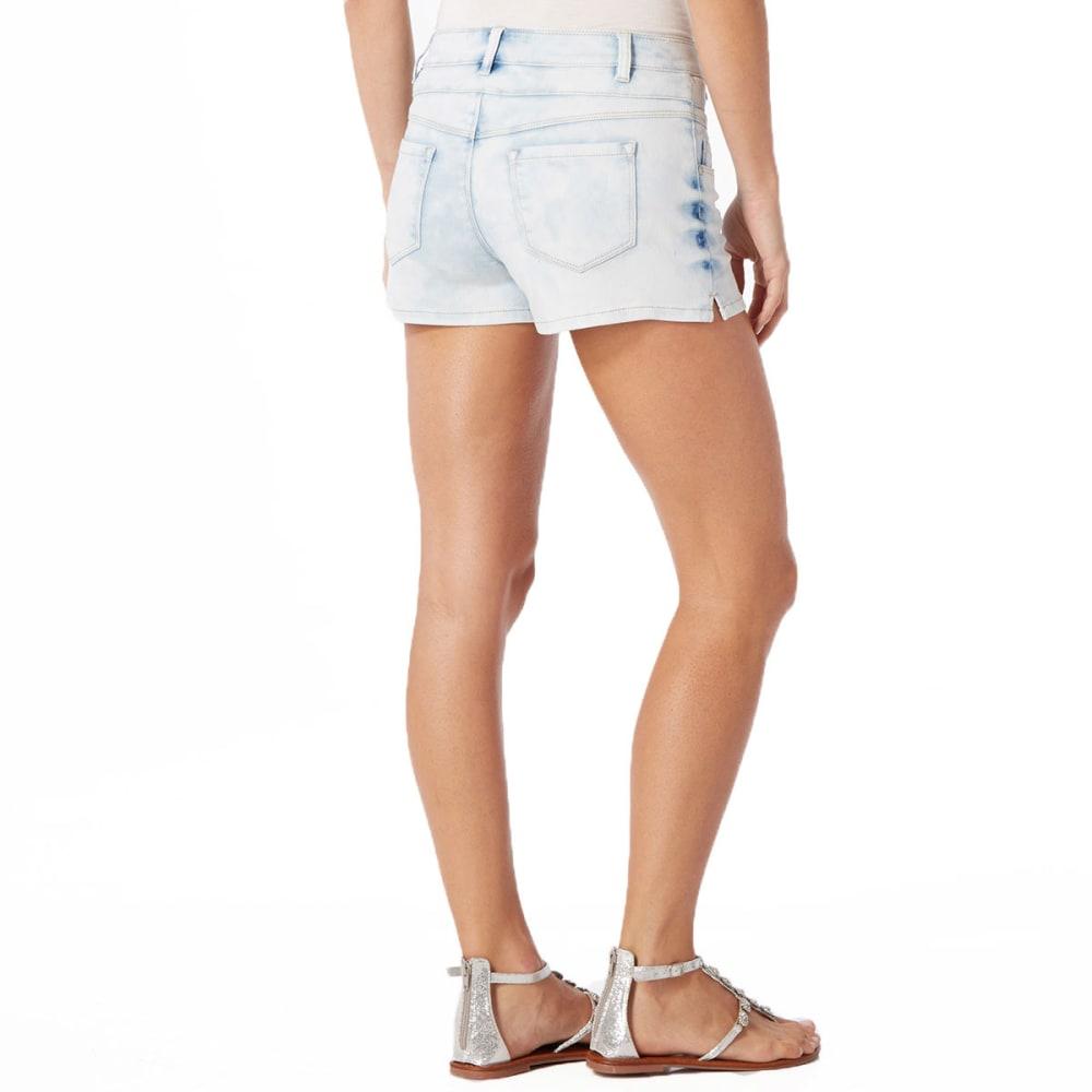 SQUEEZE Juniors' 3 Button High-Waisted Shorts - ULTRA LIGHT WASH