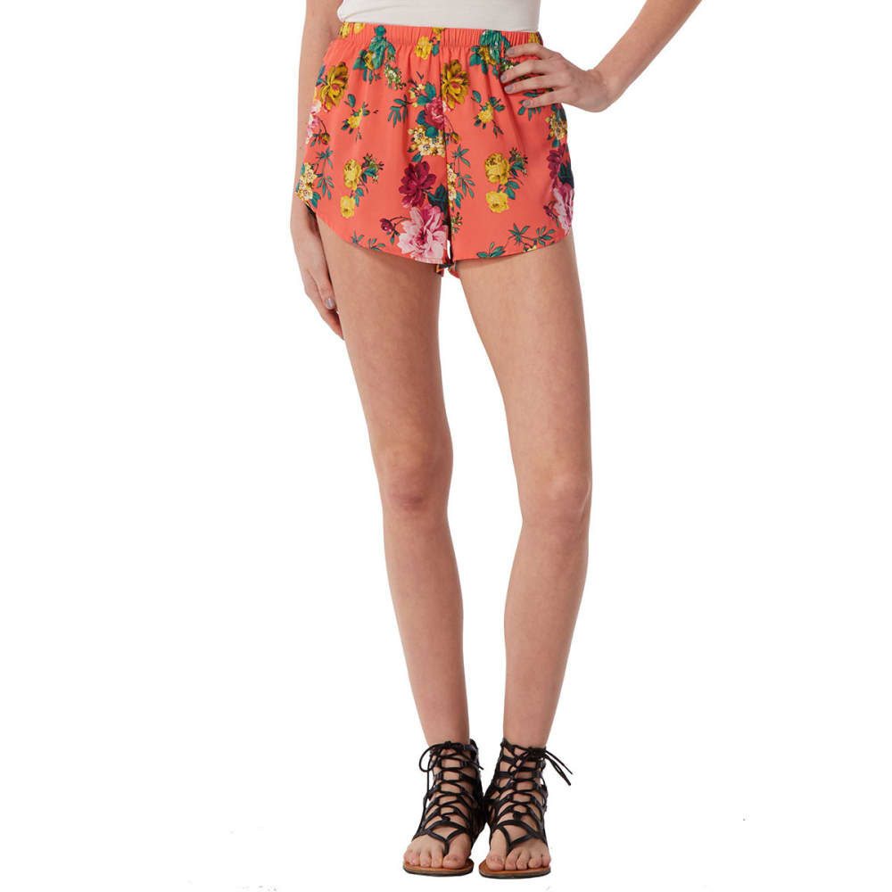 AMBIANCE Juniors' Floral Soft Shorts - CORAL