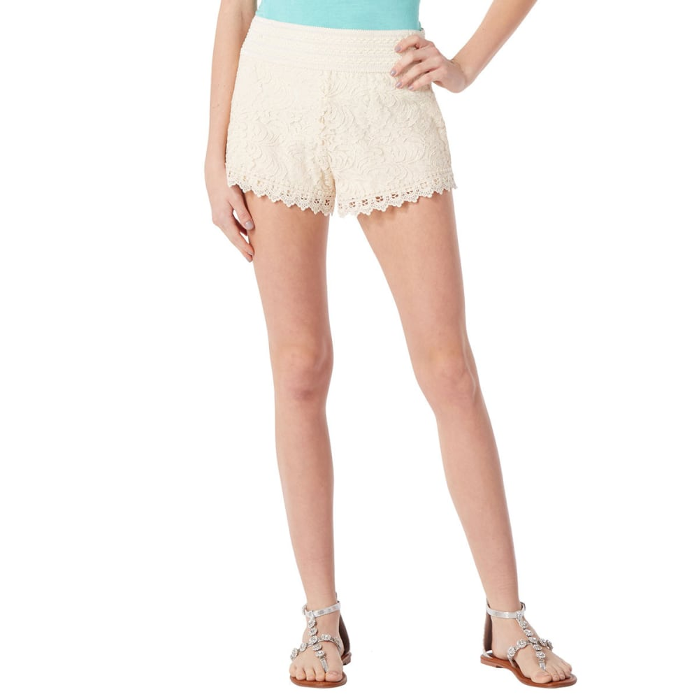 AMBIANCE Juniors' Lace Shorts - NATURAL