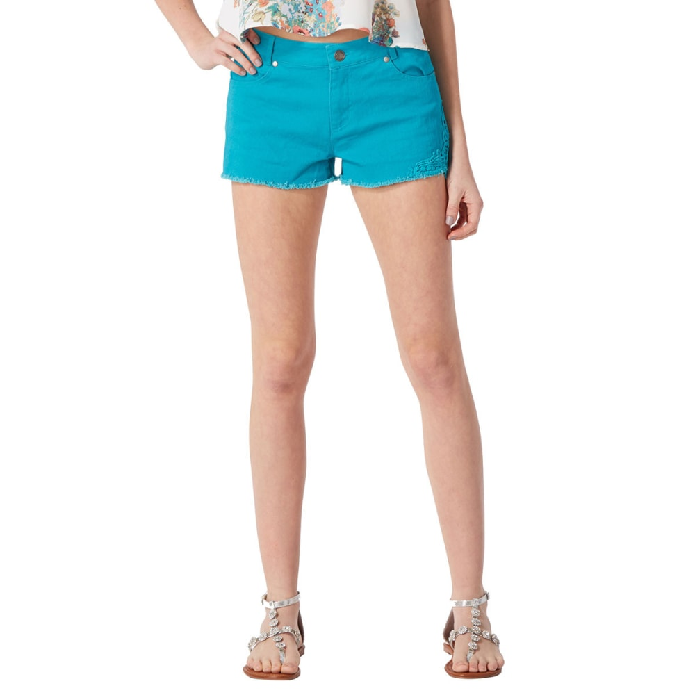 AMBIANCE Juniors' Crochet Side Shorts - JADE