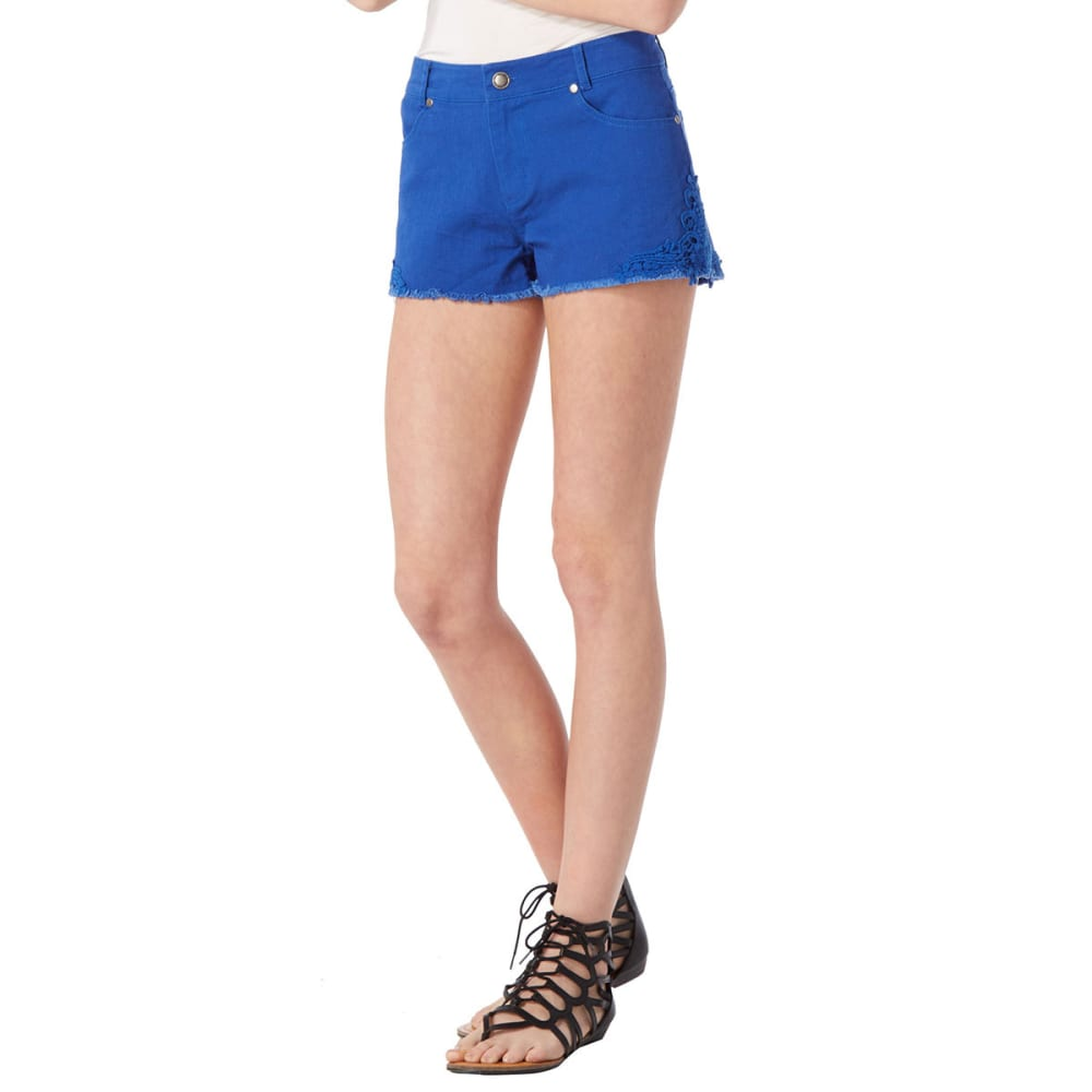AMBIANCE Juniors' Crochet Side Shorts - ROYAL BLUE