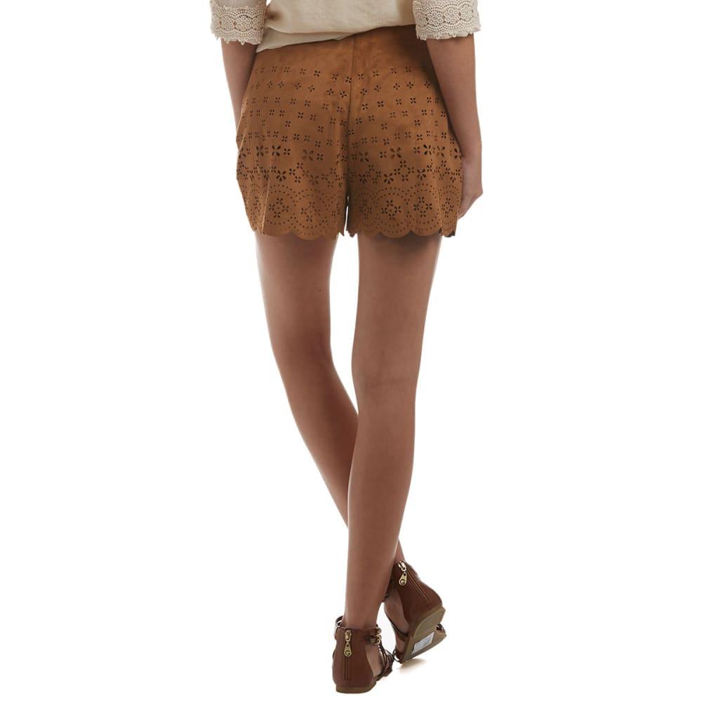 Taylor & Sage Junior's Suede Laser Cut Shorts - CAMEL