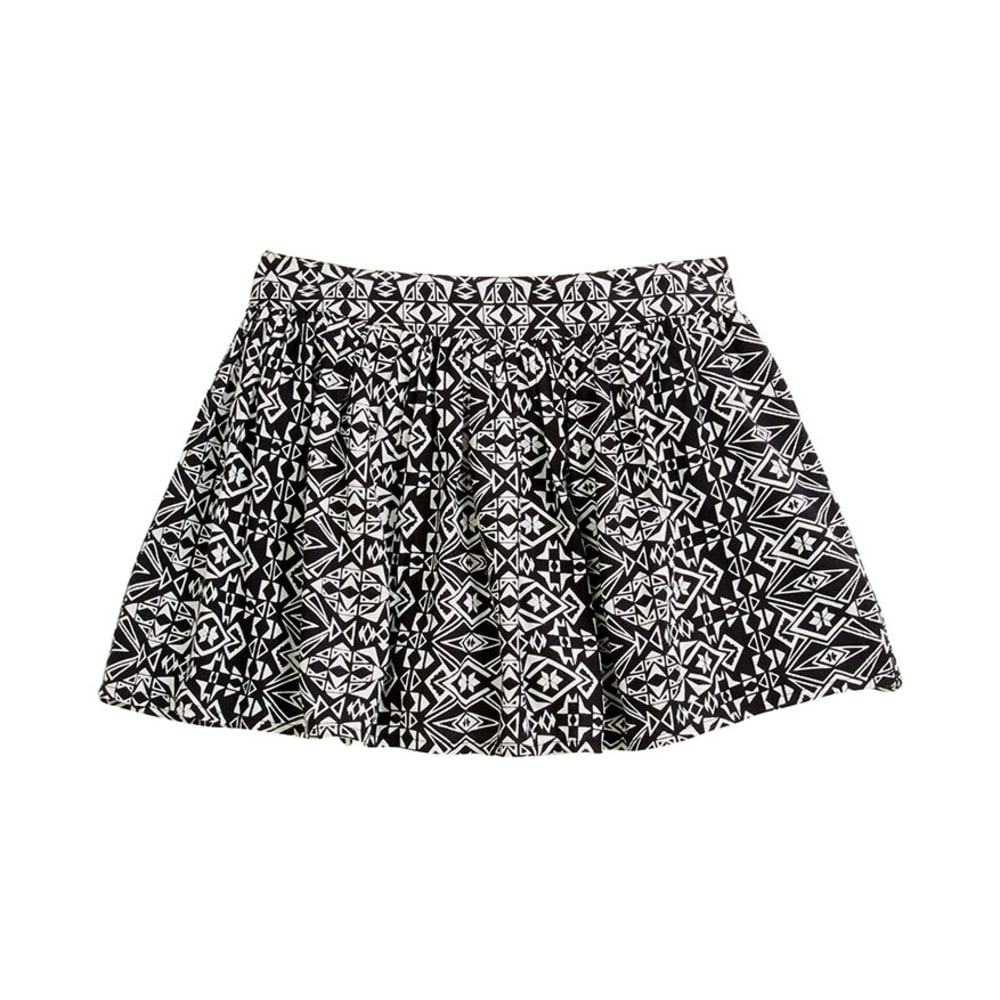 EYE CANDY Juniors' Tribal Print Skort with Exposed Zipper - BLACK