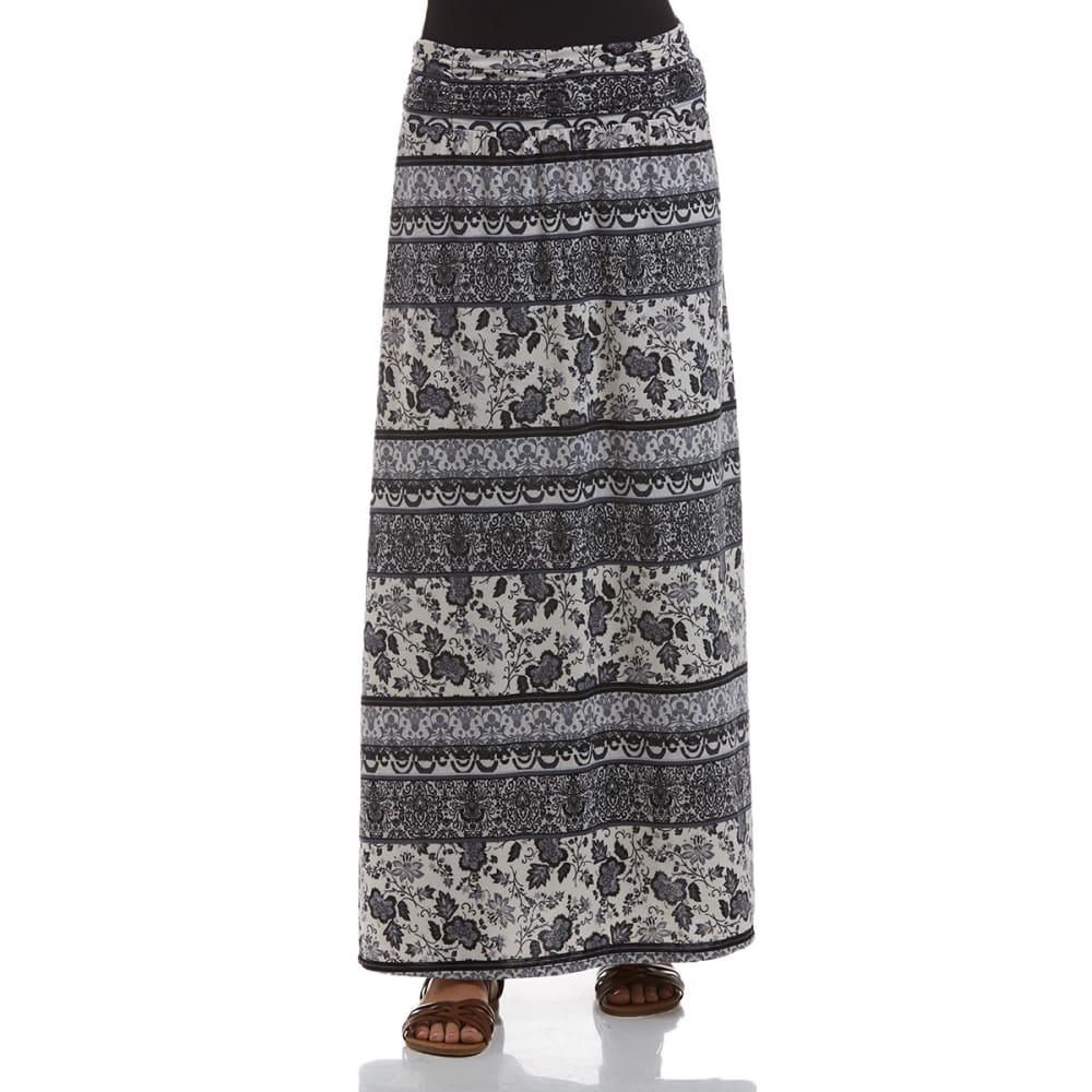 JOE BENBASSET Juniors' Maxi Slit Side Skirt - BLACK/GREY