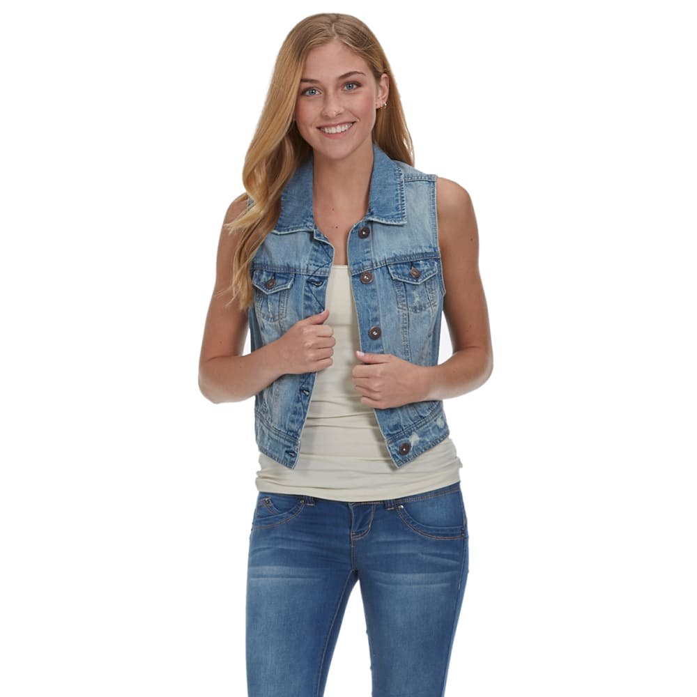 ESSENTIALS NEW YORK Juniors' Denim Vest - DENIM