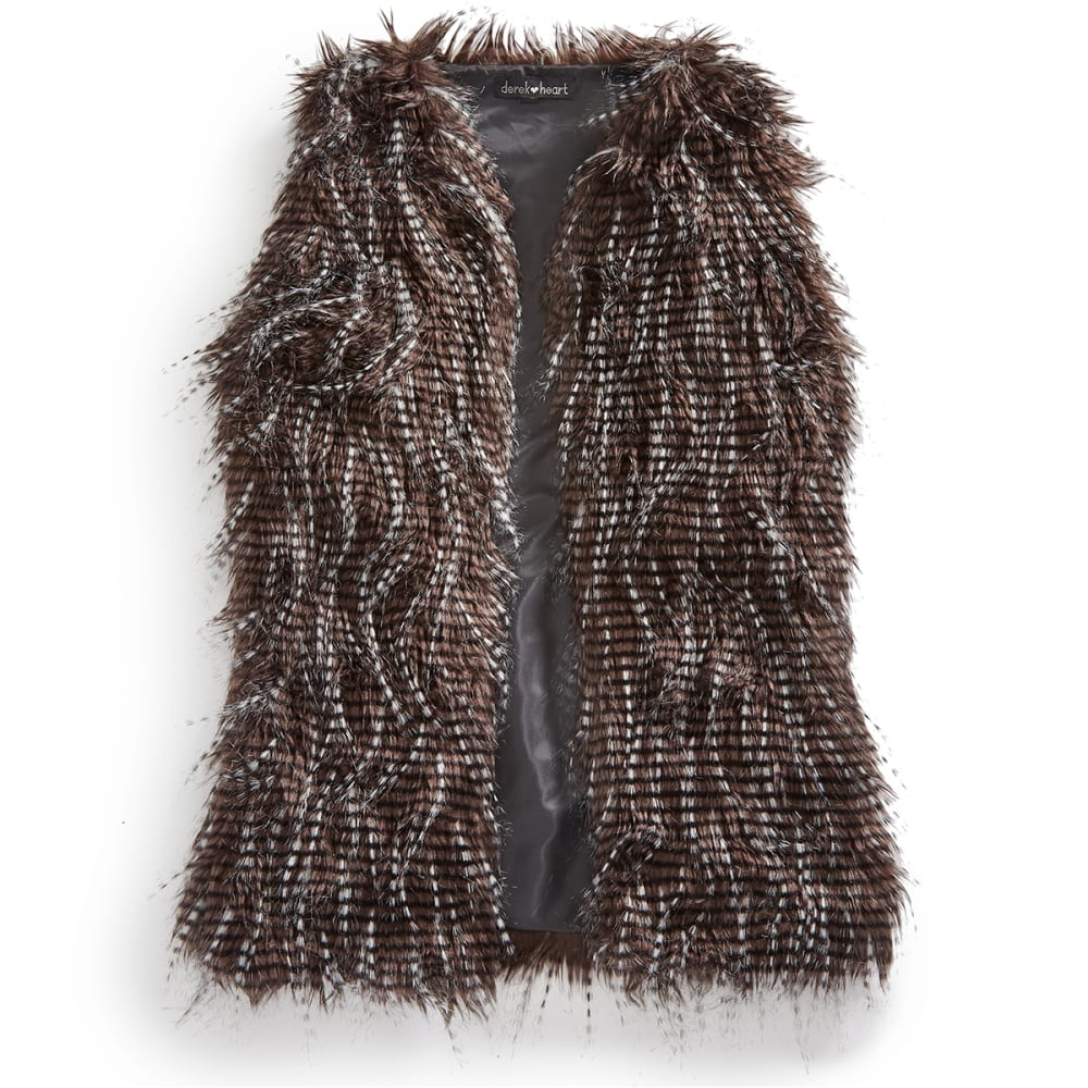DEREK HEART Juniors' Feather Fur Vest - BLACK