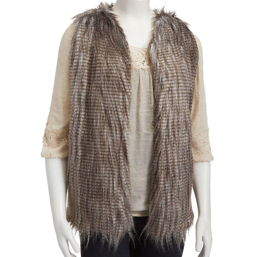 DEREK HEART Juniors' Feather Fur Vest - CHESTNUT DISTRESSED