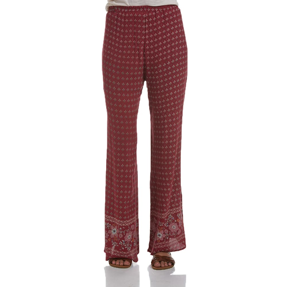 TAYLOR & SAGE Juniors' Palazzo Printed Pants - BURGUNDY