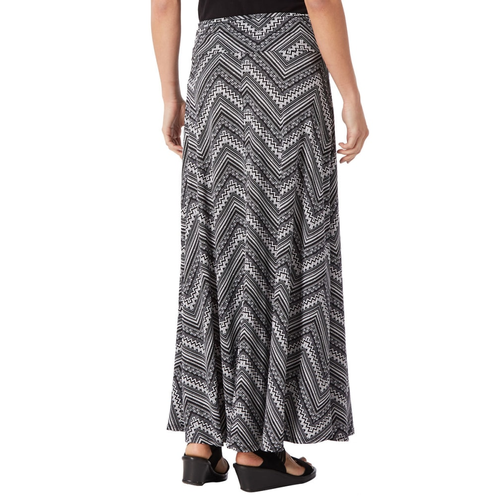 CKW Women's Chevron Print Maxi Skirt - BLOWOUT - BLACK/IVORY