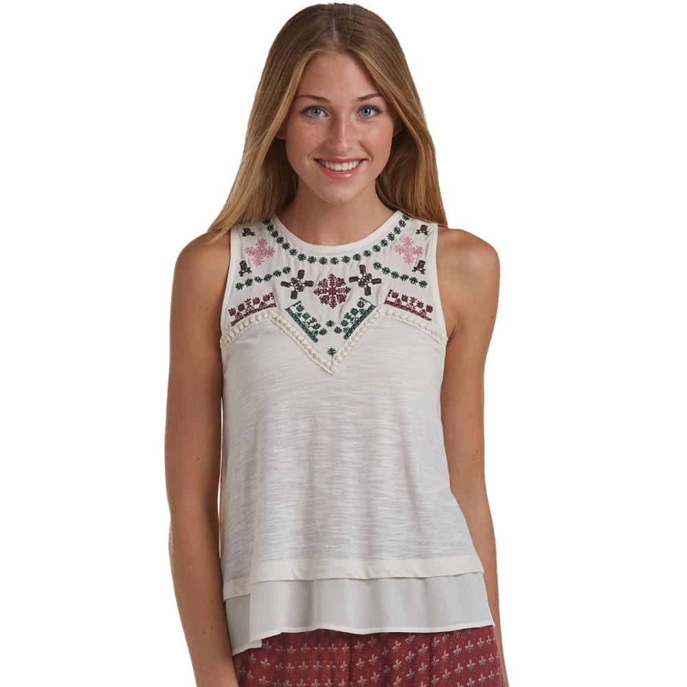 TAYLOR & SAGE Junior's Embroidered Multi Yoke Hanky Tank - NATURAL